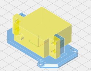 The blue shows the servo mount. The yellow is the mock-up of the actual servo, which is not printed.