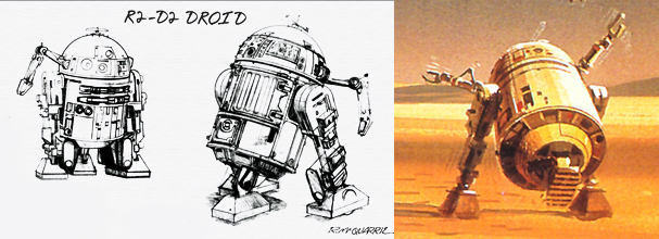 Early design sketches and concept painting of R2D2 by Ralph McQuarrie, whose artwork is driving the design aesthetic of STAR WARS REBELS including the look of Chopper the droid. © Lucasfilm Ltd. and TM. All Rights Reserved. Source: http://thestarwarssaga.com/?p=1899